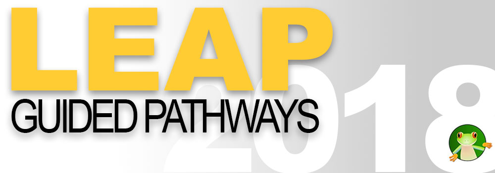"LEAP Guided Pathways logo. LEAP is in bold yellow letters, and Guided Pathways is underneath it in black. In the background is the year 2018, with a cartoon frog peering out of the bottom hole of the number ""8"""