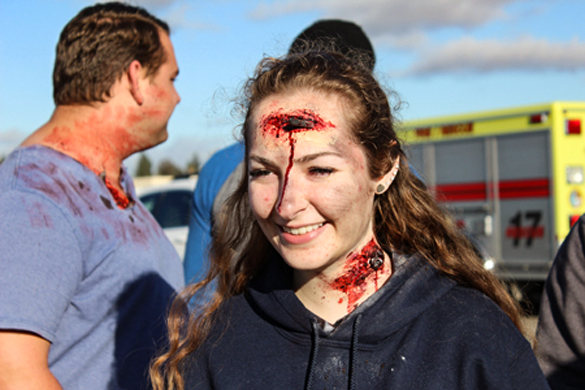 COC EMT students with moulage at drill.