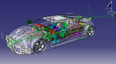 CAD design of car.