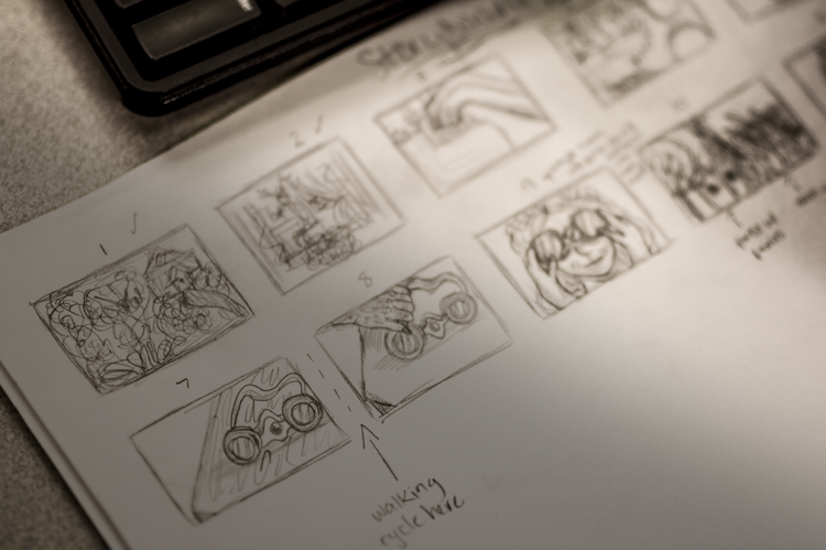Animation storyboard sketches by student. photo © Robin Spurs