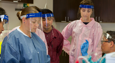 Medical Laboratory Technician students with instructor.  photo © Robin Spurs