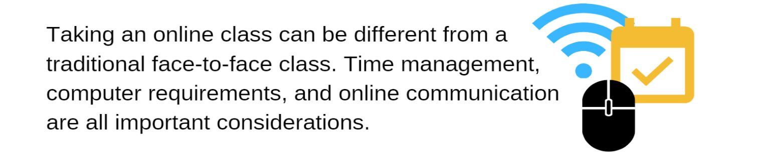 Taking an online class can be different from a traditional face-to-face class. Time management, computer requirements, and online communication are all important considerations.