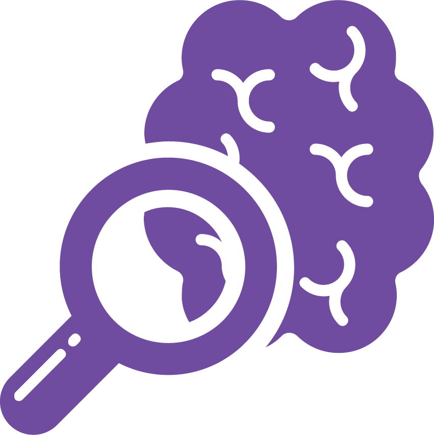 brain under a magnifying glass icon