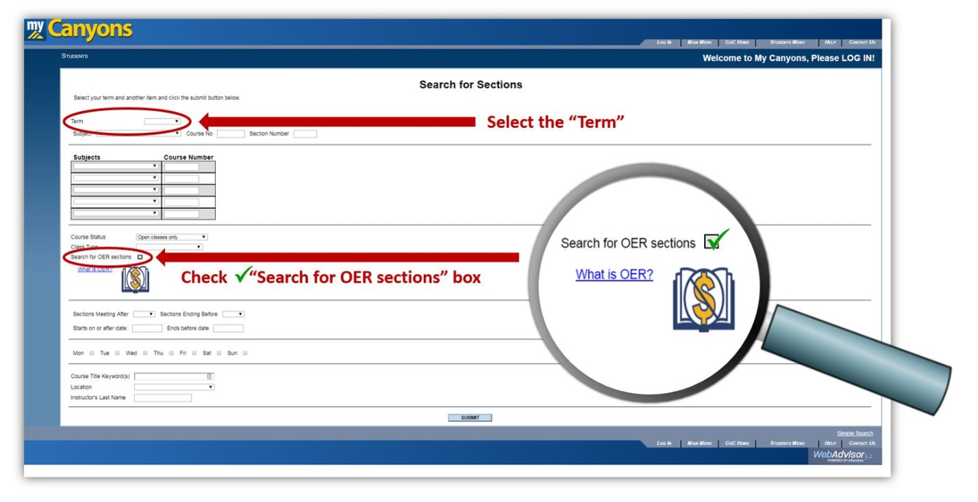"In the class search, select the Term, and then check the ""SEarch for OER sections"" box."