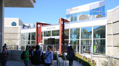 Students walking outside Hasley Hall, College of the Canyons