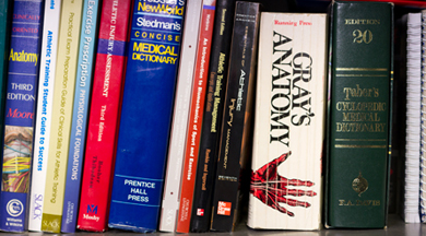 Sports Medicine book library.  photo © Robin Spurs