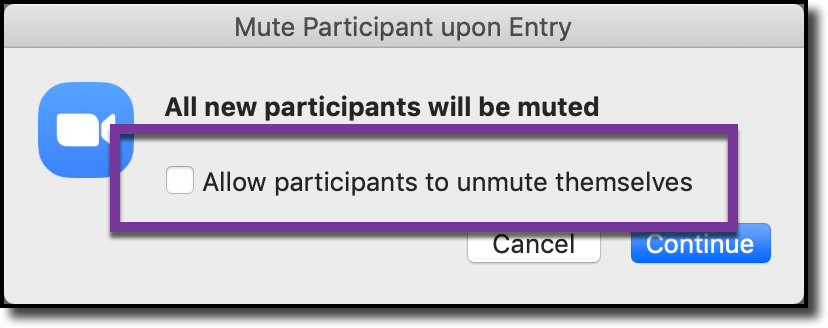 Allow participants to unmute themselves - Turn off