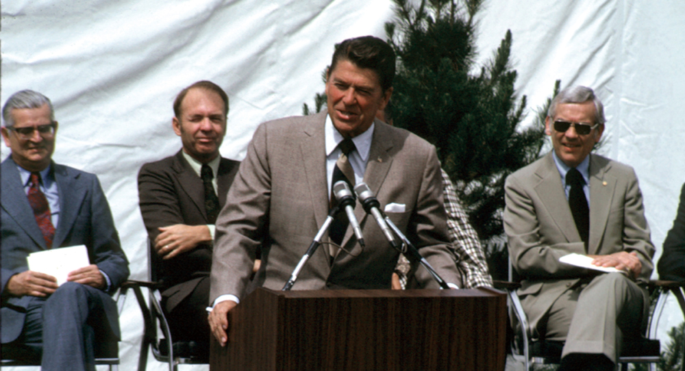 Gov. Ronald Reagan speaks during the dedication of the college's first building.
