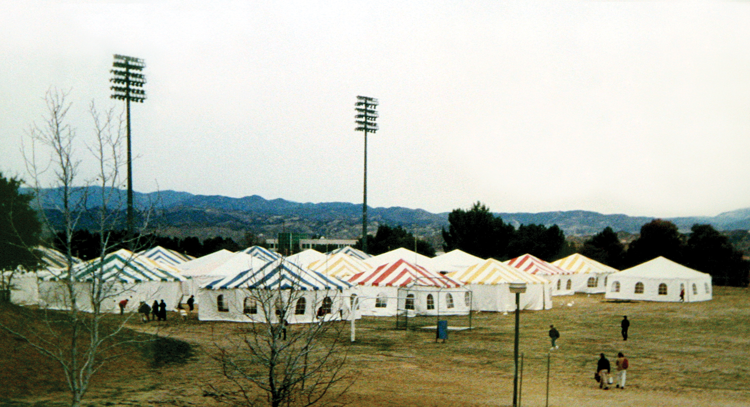 Tent classrooms following the 1994 earthquake