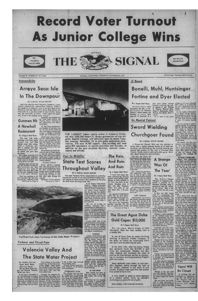 Front page of Nov. 22, 1967 Signal newspaper