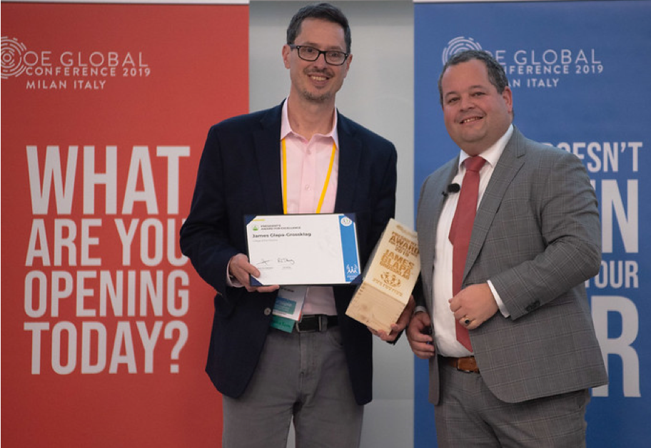 For his exceptional contributions to advancing open education around the world, James Glapa-Grossklag, Dean of Learning Resources at College of the Canyons, received the President's Award for Excellence at the 2019 Open Education Global Conference.