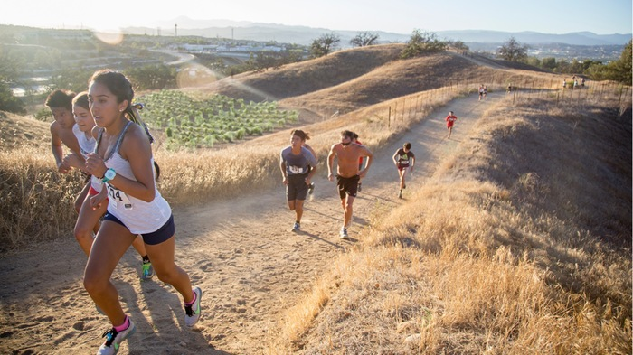 Runners navigate the cross country course at College of the Canyons.