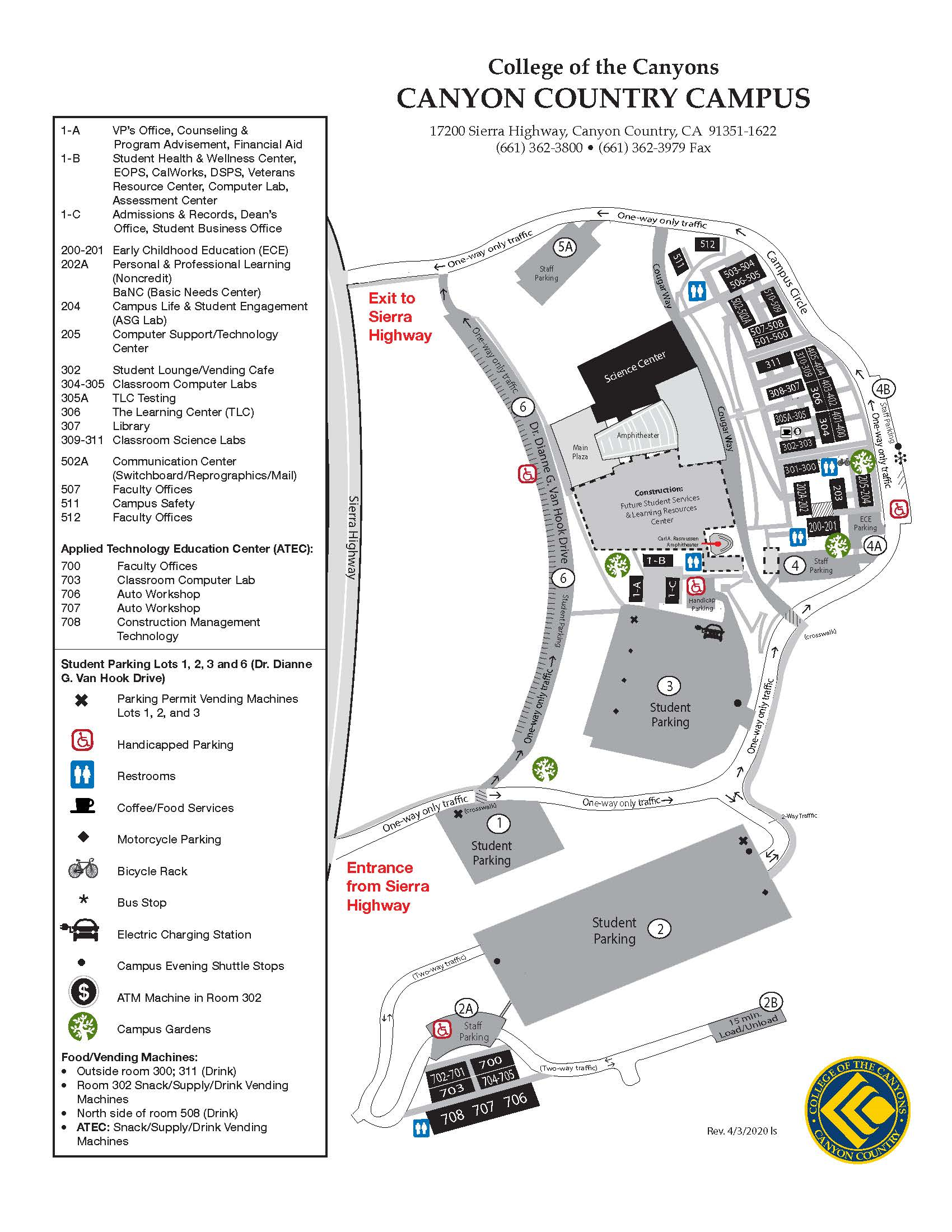 coc canyon country campus map Campus Map coc canyon country campus map